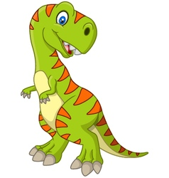 Cartoon happy dinosaur vector image