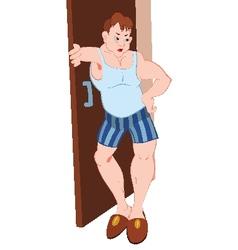 Cartoon man in blue underwear standing near vector image vector image