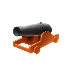 Cartoon medieval cannon isolated on white vector image
