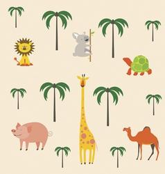 cartoon safari animals set vector image vector image