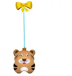 Christmas fur tree toy tiger vector image