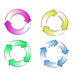 circle arrow hand drawing vector image
