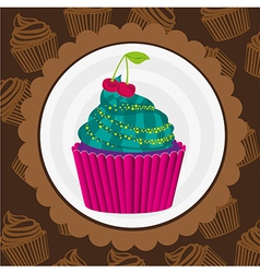 Cupcake sticker on back of pattern shapes of cupca vector