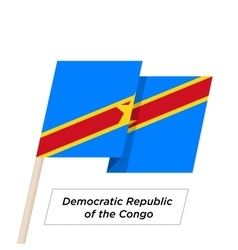 Democratic republic of the congo ribbon waving vector