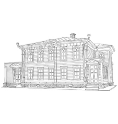 Drawing sketch of a house vector
