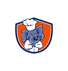 Elephant chef arms crossed crest cartoon vector