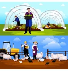 Farmers gardeners 2 horizontal flat banners set vector
