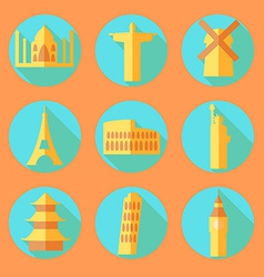 Flat architecture buildings icons vector image
