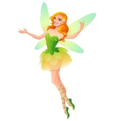 Flying and presenting fairy with wings in green vector