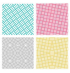 Geometric seamless weave line pattern in korean vector
