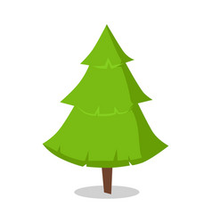 Green bushy christmas tree icon isolated on white vector