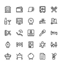 Hotel line icons 2 vector