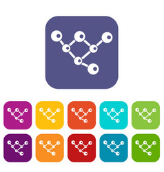 Molecule structure icons set vector