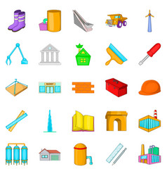 new district icons set cartoon style vector image