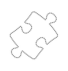 Puzzle piece sign black dashed icon on vector
