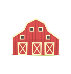red barn wooden agricultural building cartoon vector image vector image