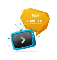 Retro tv with bubble speech vector
