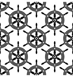 Seamless pattern of antique ships wheel vector image