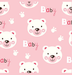 seamless pattern with cute baby teddy bears vector image