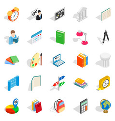 teacher icons set isometric style vector image