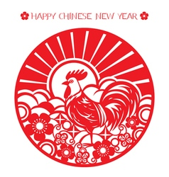 The rooster paper cut art on circle frame vector