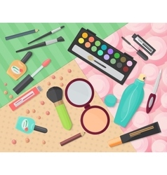 Top view of various makeup decorative cosmetics vector image vector image