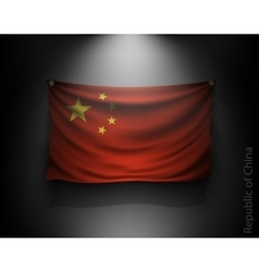 Waving flag chinese republic on a dark wall vector