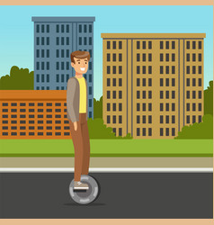 Young man riding on one wheel electric scooter on vector