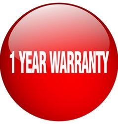 1 year warranty red round gel isolated push button vector