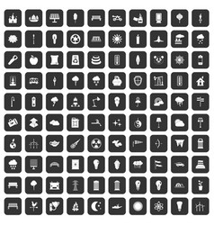 100 street lighting icons set black vector