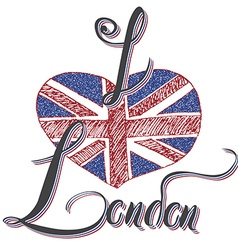 London hand lettering sign with grunge united vector