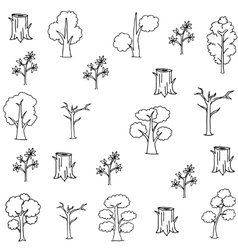 Flat hand draw tree set doodles vector image