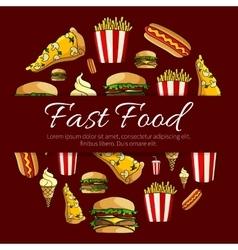 Fast food menu card circle design vector