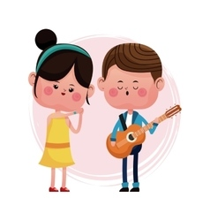 Couple loving serenading with guitar vector