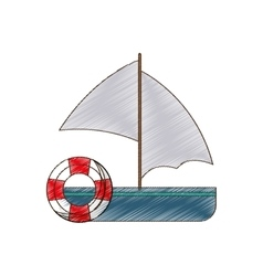 drawing sailing boat buoy life travel vector image