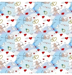 Valentines Day seamless pattern in doodle style vector image