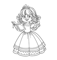 Beautiful princess read book outlined picture for vector
