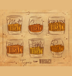 Poster types whiskey craft vector