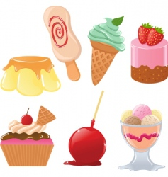 set of cute desserts vector image