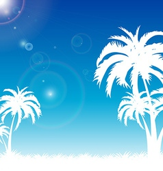 Summer blue sky on palm beach vector