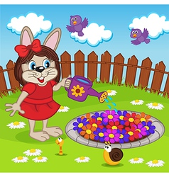 Rabbit girl watering flowers in flowerbed vector
