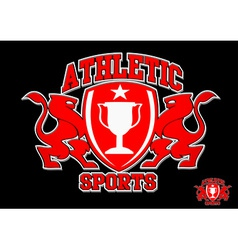 3d athletic sports red emblem on black background vector