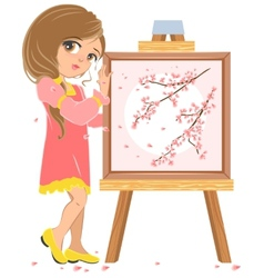 Girl standing near easel painter picture of vector