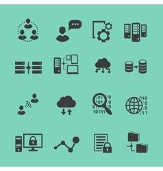 Big Data analysis black icons set data vector image