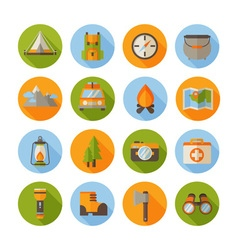 A set of hiking flat icons in modern style vector