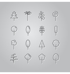 Set of line icons trees vector