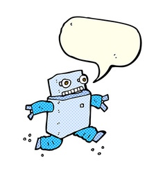cartoon running robot with speech bubble vector image
