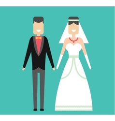 Wedding couple cartoon style vector