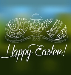Easter greeting card with decorative egg on a vector