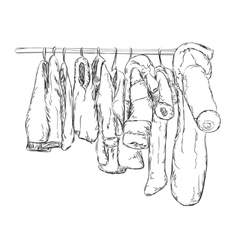Clothes for little boys and girls wardrobe sketch vector